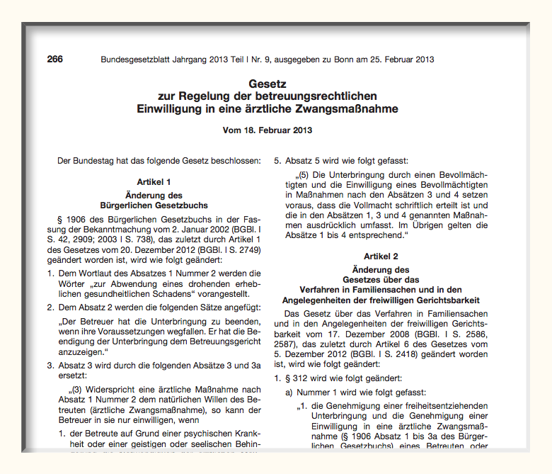 Bundesgesetzblatt Betreuungsrecht Neufassung